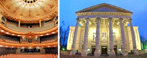 left image: interior of the theater in Meiningen, right image: Exterior view