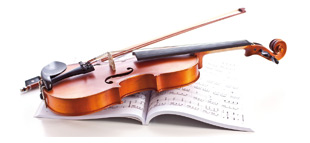 Violin with music book